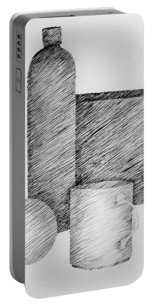 Still Life Portable Battery Charger featuring the drawing Still Life with Cup Bottle and Shapes by Michelle Calkins