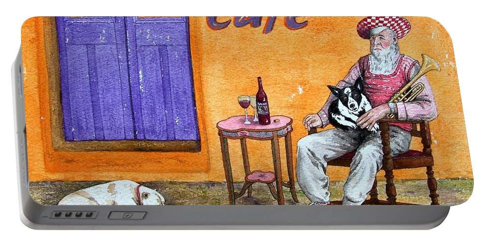 Music Portable Battery Charger featuring the painting Still Life With Dogs And Music by Gale Cochran-Smith