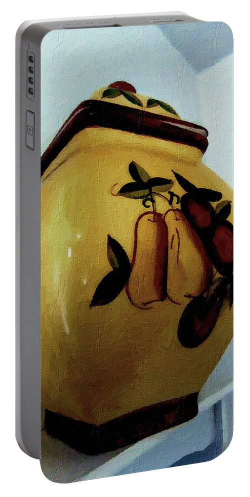 Jar Portable Battery Charger featuring the painting Still Life With Fruited Pottery by RC DeWinter