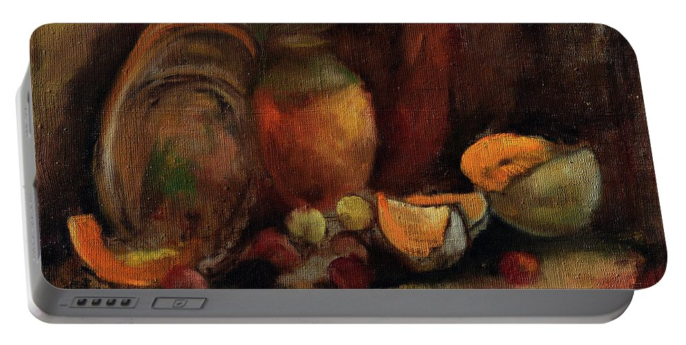 Portable Battery Charger featuring the painting Still Life With Fruits And Pumpkin by Sveatoslav Zacon