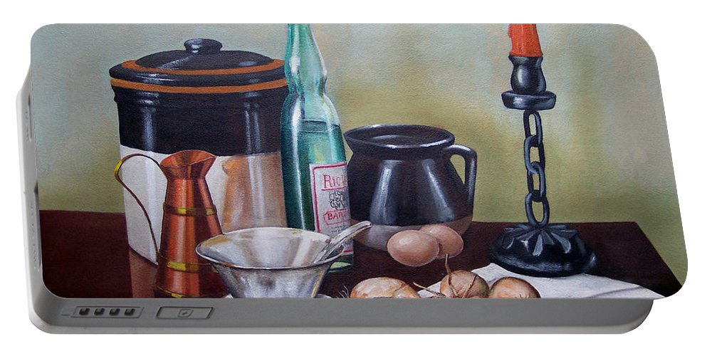 Still Life Portable Battery Charger featuring the painting Still life With Onions and Eggs by Frank Wilson
