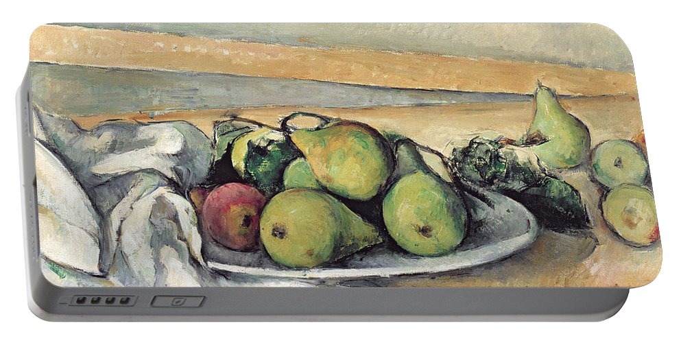 Still Portable Battery Charger featuring the painting Still Life With Pears by Paul Cezanne
