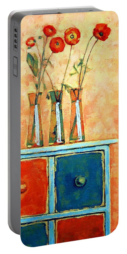 Poppies Portable Battery Charger featuring the painting Still Life With Poppies by Iliyan Bozhanov