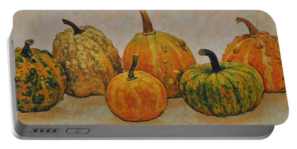 Still Life Portable Battery Charger featuring the painting Still Life With Pumpkins by Iliyan Bozhanov