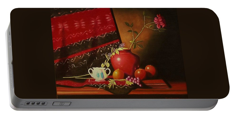 Stilllife Portable Battery Charger featuring the painting Still Life With Red Vase. by Gene Gregory