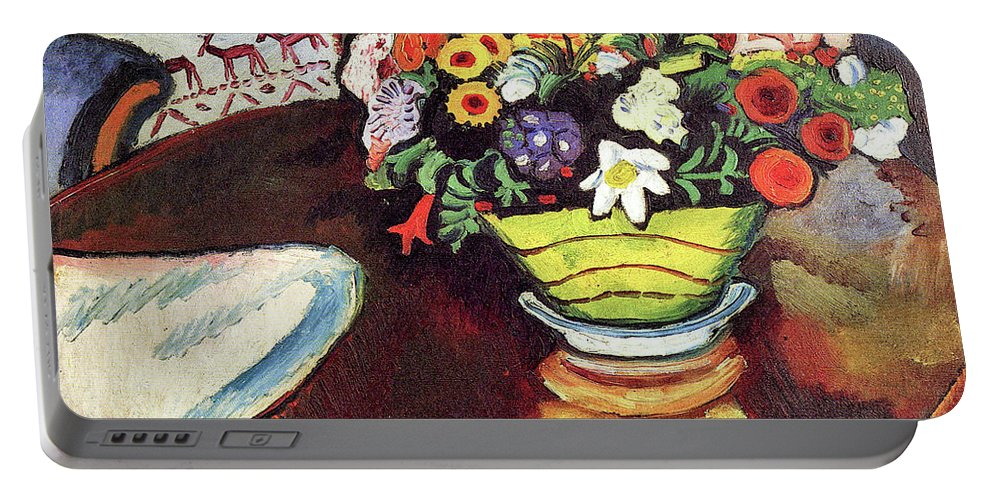 Still Portable Battery Charger featuring the painting Still Life With Venison And Ostrich Pillow By August Macke by August Macke