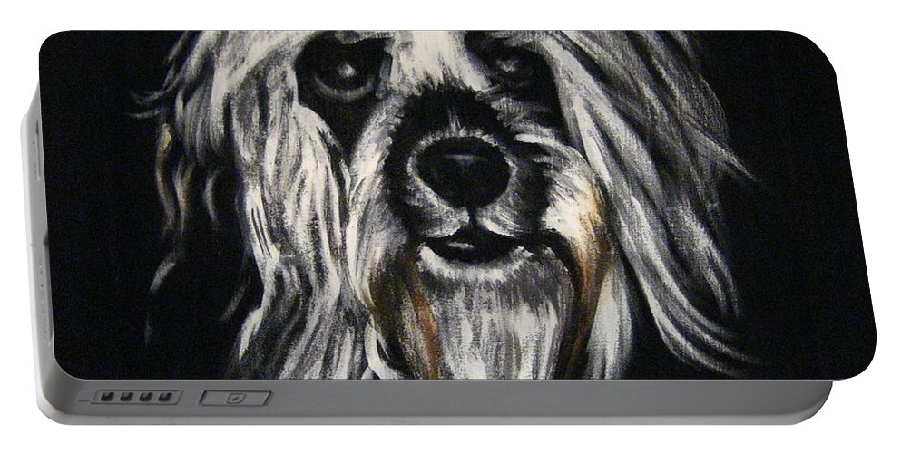 Dog Portable Battery Charger featuring the painting Stinker by Sherry Oliver