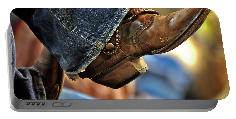Boots Portable Battery Charger featuring the photograph Stock Show Boots I by Joan Carroll