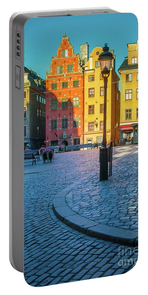 Europe Portable Battery Charger featuring the photograph Stockholm Stortorget Square by Inge Johnsson