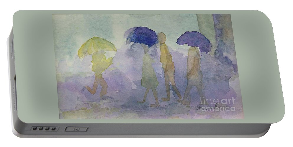 Watercolor Portable Battery Charger featuring the painting Stomping In The Rain by Vicki Housel