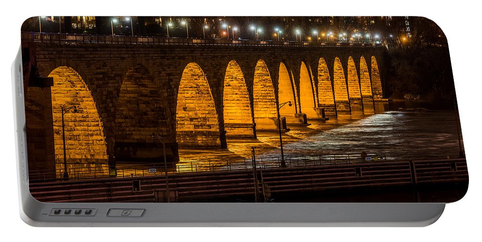 Stone Arch Bridge Portable Battery Charger featuring the photograph Stone Arch Bridge Night Shot by Paul Freidlund