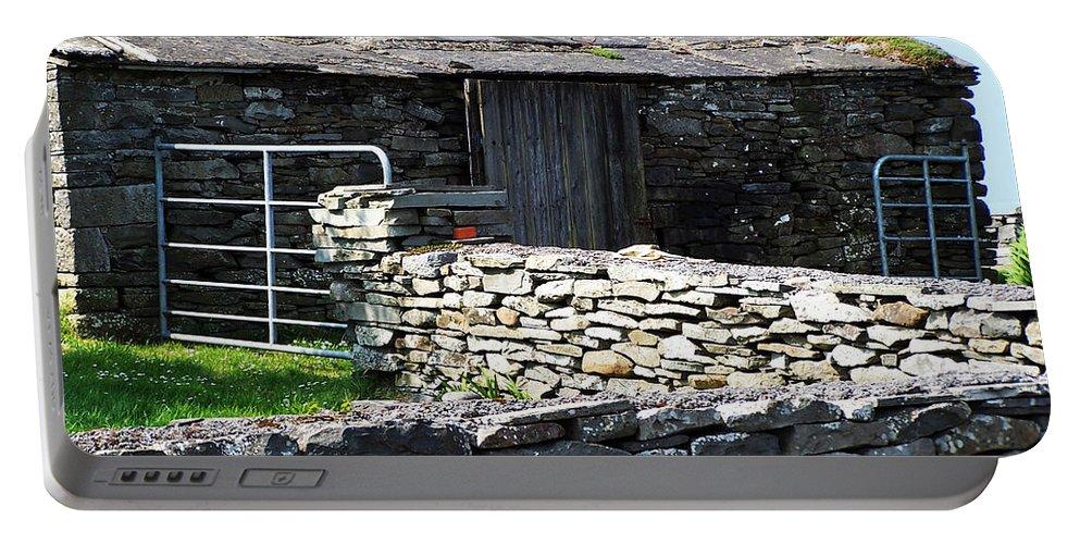 Irish Portable Battery Charger featuring the photograph Stone Barn Doolin Ireland by Teresa Mucha
