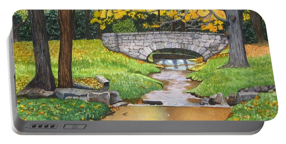 Landscape Portable Battery Charger featuring the painting Stone Bridge by Sharon Farber