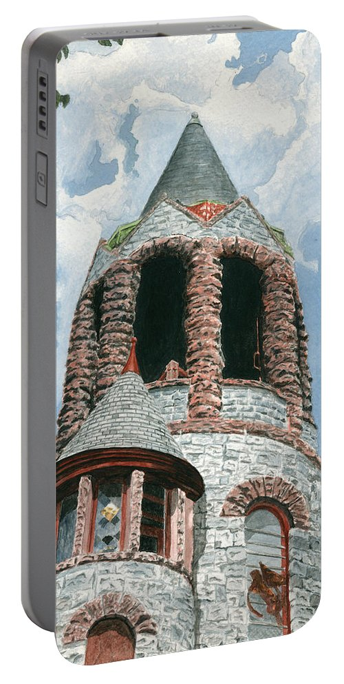 Church Portable Battery Charger featuring the painting Stone Church Bell Tower by Dominic White