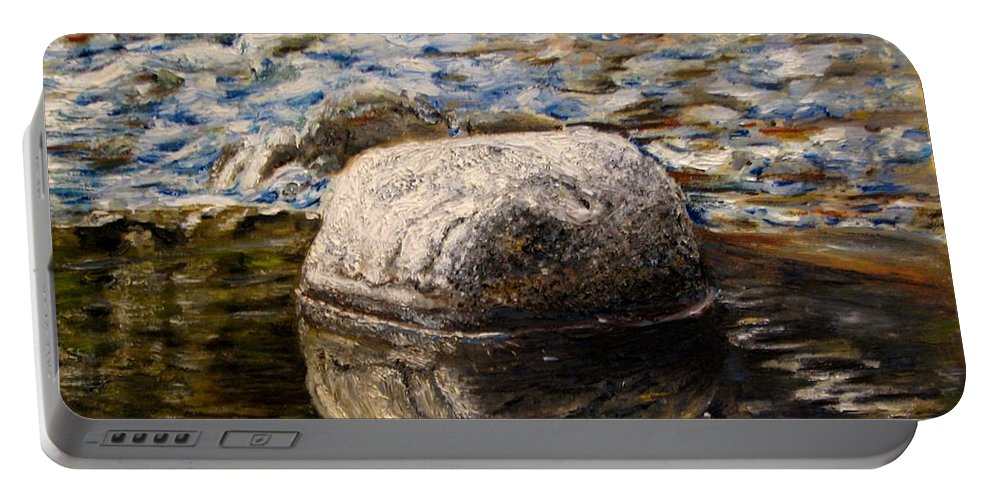 Original Painting Portable Battery Charger featuring the painting Stone landscape original oil painting by Natalja Picugina