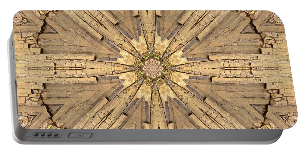 Abstract Portable Battery Charger featuring the photograph Stone Mosaic Mandala 2 by Marv Vandehey