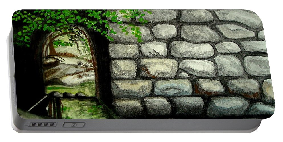 Landscape Portable Battery Charger featuring the painting Stone Tunnel by Elizabeth Robinette Tyndall