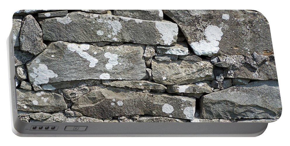 Irish Portable Battery Charger featuring the photograph Stone Wall Detail Doolin Ireland by Teresa Mucha
