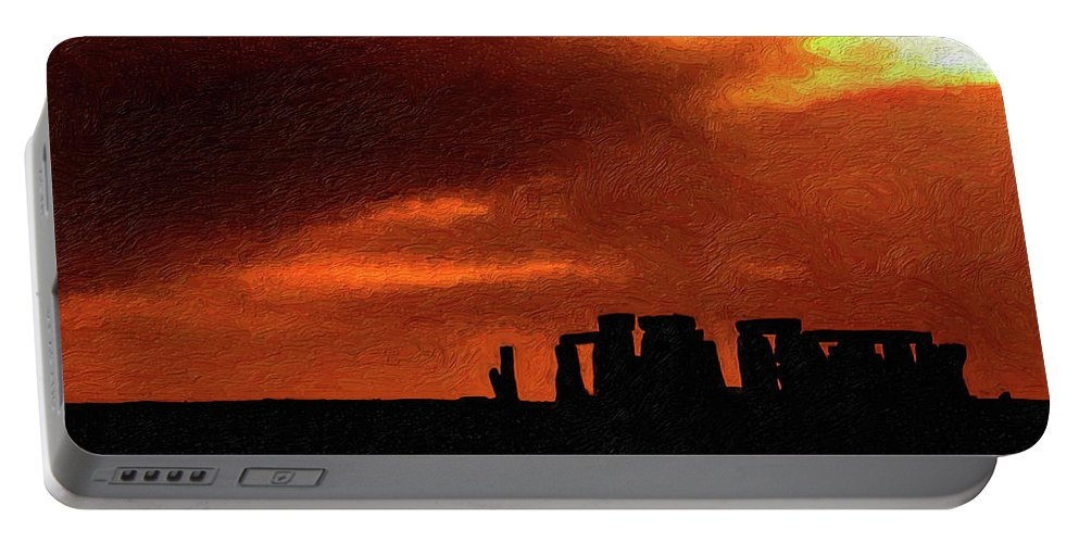 Stonehenge Portable Battery Charger featuring the photograph Stonehenge Impasto 2 by Steve Harrington