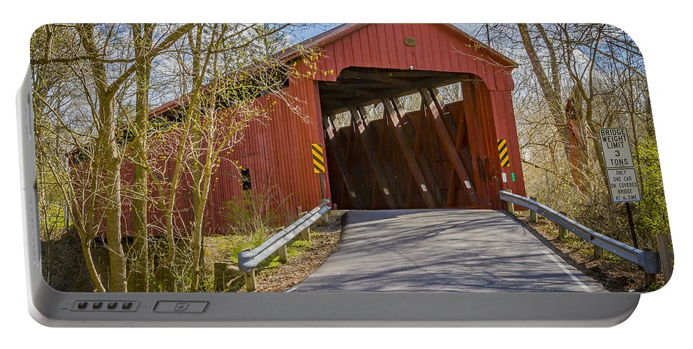 America Portable Battery Charger featuring the photograph Stonelick Covered Bridge by Jack R Perry