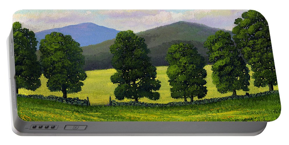 Landscape Portable Battery Charger featuring the painting Stonewall Field by Frank Wilson