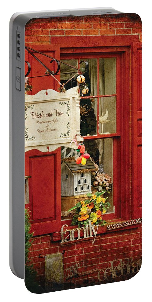 Thistle Portable Battery Charger featuring the photograph Store - Strausburg Pa - Thistle And Vine by Mike Savad