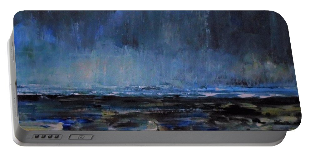Storm Portable Battery Charger featuring the painting Storm At Sea IIi by Angela Cartner