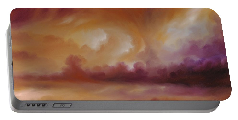 Tempest Portable Battery Charger featuring the painting Storm Clouds 2 by James Christopher Hill