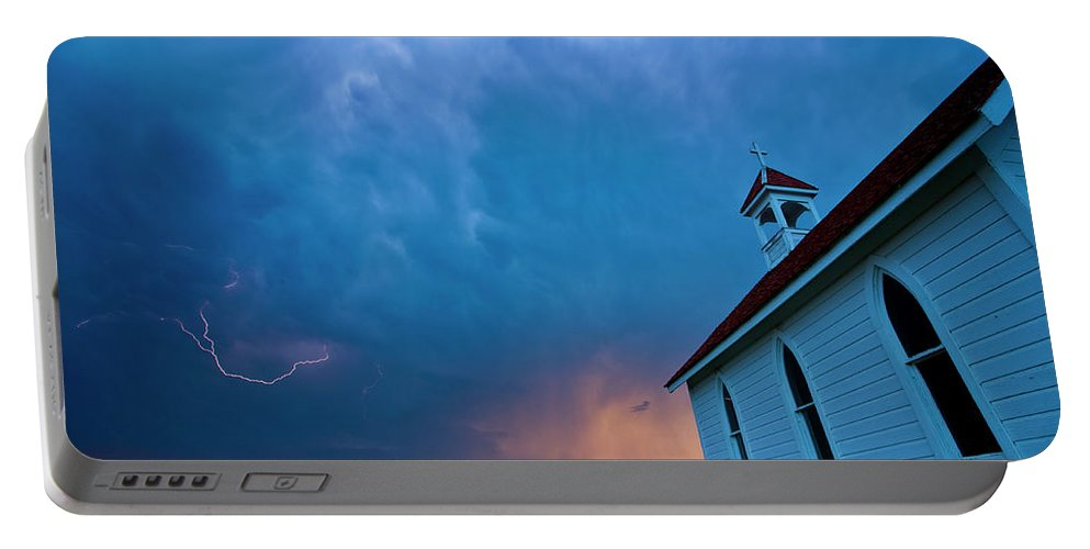 Church Portable Battery Charger featuring the digital art Storm Clouds Over Saskatchewan Country Church by Mark Duffy
