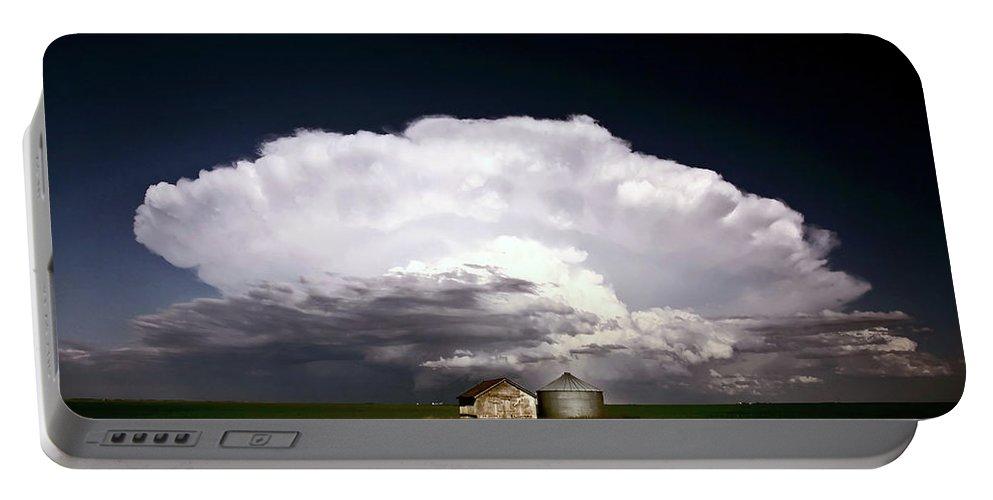Cumulonimbus Portable Battery Charger featuring the digital art Storm Clouds Over Saskatchewan Granaries by Mark Duffy