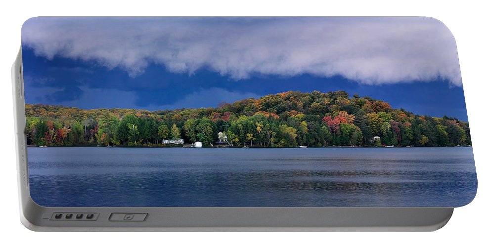 Lake Portable Battery Charger featuring the photograph Storm Clouds Over The Lake Of Bays by Oleksiy Maksymenko