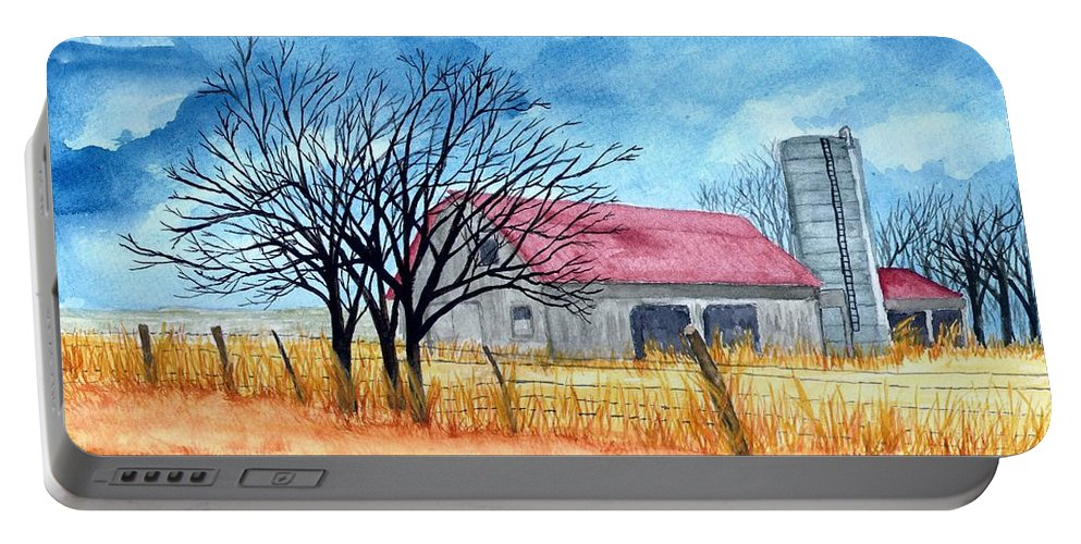 Farm Portable Battery Charger featuring the painting Storm Coming by B Kathleen Fannin