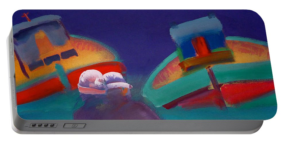 Storm Portable Battery Charger featuring the painting Storm Horizon by Charles Stuart
