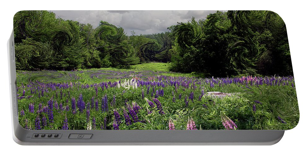 Lupine Portable Battery Charger featuring the photograph Storm In The Lupine by Wayne King