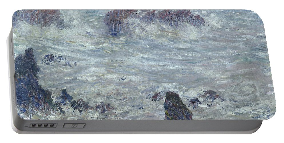 Storm Portable Battery Charger featuring the painting Storm Off The Coast Of Belle Ile by Claude Monet