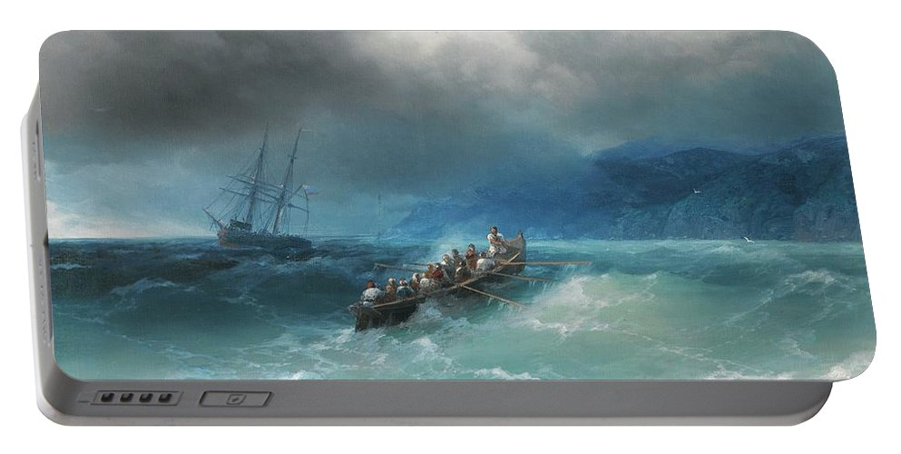 Ivan Konstantinovich Aivazovsky 1817-1900 Storm Over The Black Sea Portable Battery Charger featuring the painting Storm Over The Black Sea by MotionAge Designs