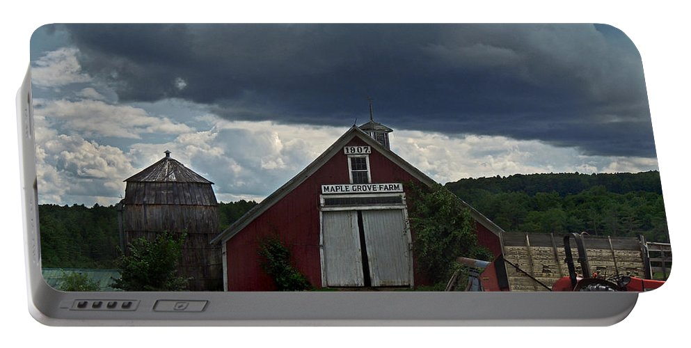 Newbury Portable Battery Charger featuring the photograph Storm Upon Maple Grove Farm by Nancy Griswold