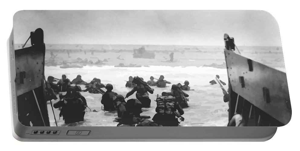 D Day Portable Battery Charger featuring the painting Storming The Beach On D-Day by War Is Hell Store