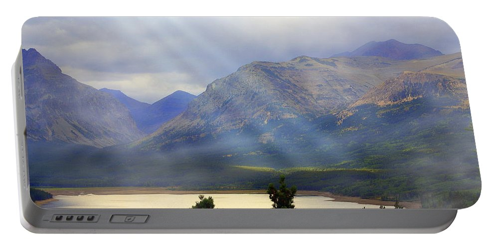Glacier National Park Portable Battery Charger featuring the photograph Storms A Coming-lower Two Medicine Lake by Marty Koch