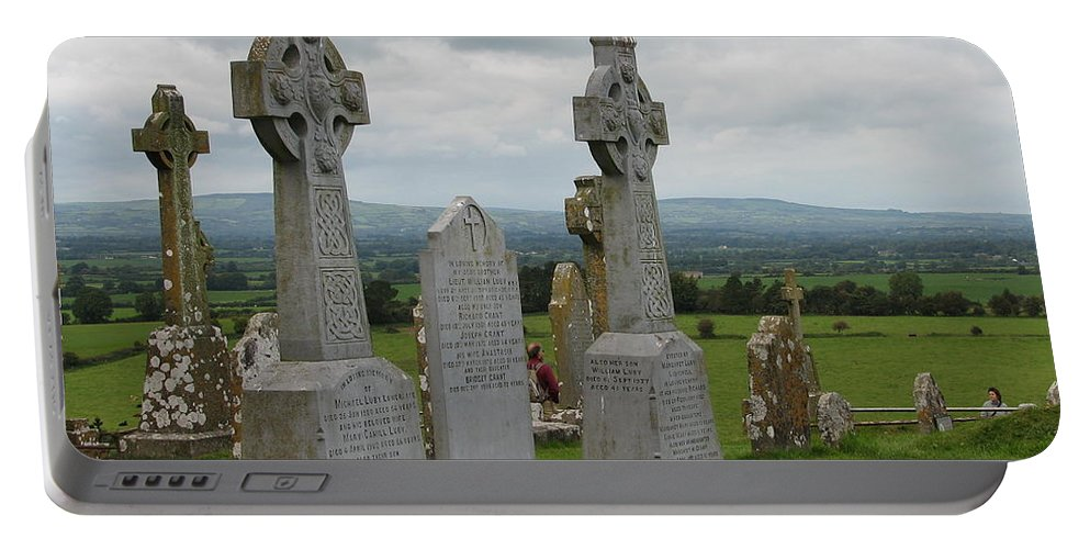 Celtic Cross Portable Battery Charger featuring the photograph Storms Comming by Kelly Mezzapelle