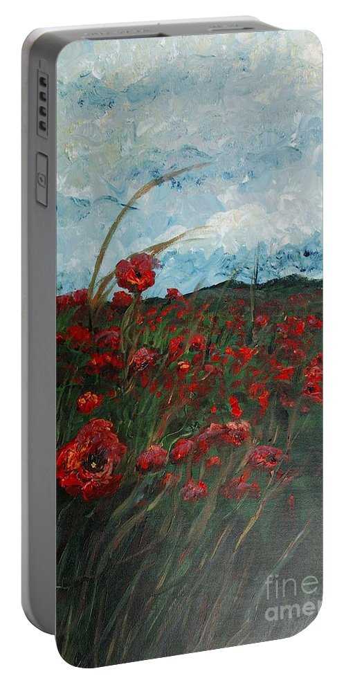 Poppies Portable Battery Charger featuring the painting Stormy Poppies by Nadine Rippelmeyer
