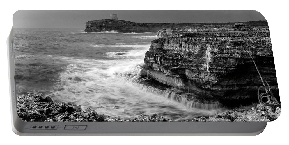 Storm Portable Battery Charger featuring the photograph stormy sea - Slow waves in a rocky coast black and white photo by pedro cardona by Pedro Cardona Llambias