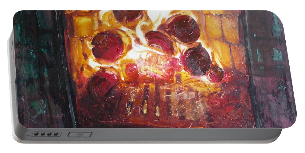 Oil Portable Battery Charger featuring the painting Stove by Sergey Ignatenko