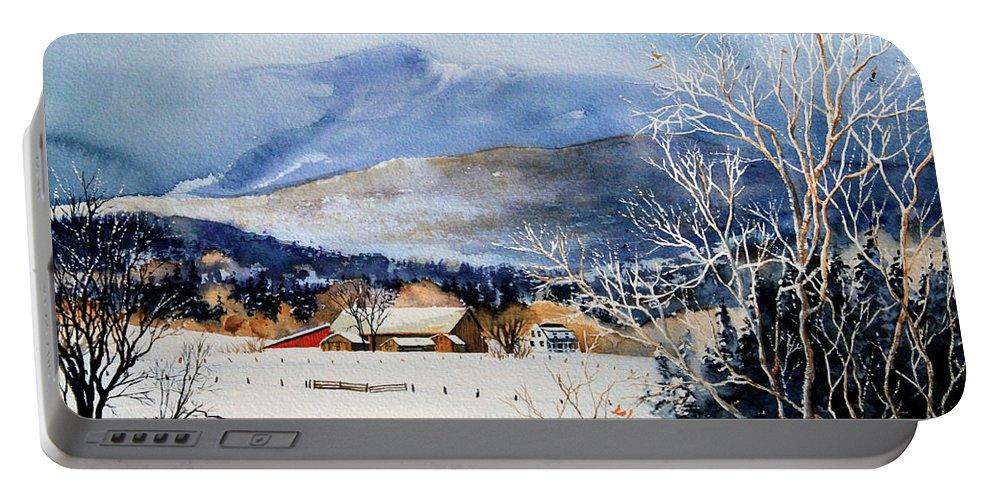 Stowe Valley Farm Painting Portable Battery Charger featuring the painting Stowe Valley Farm by Hanne Lore Koehler