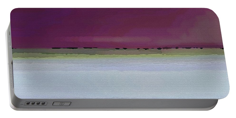 Abstract Portable Battery Charger featuring the digital art Straight Across by Ruth Palmer