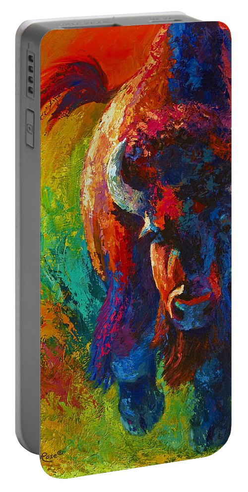 Wildlife Portable Battery Charger featuring the painting Straight Forward Introduction by Marion Rose