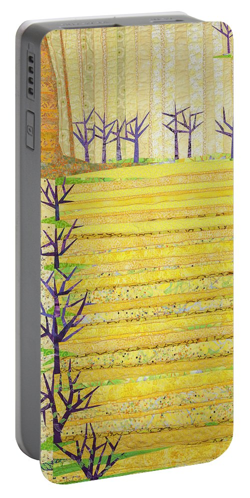 Landscape Portable Battery Charger featuring the tapestry - textile Straight Furrows by Linda Beach