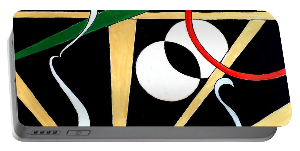 Modern Art Portable Battery Charger featuring the painting Straights And Rounds.2 by Art by Kar