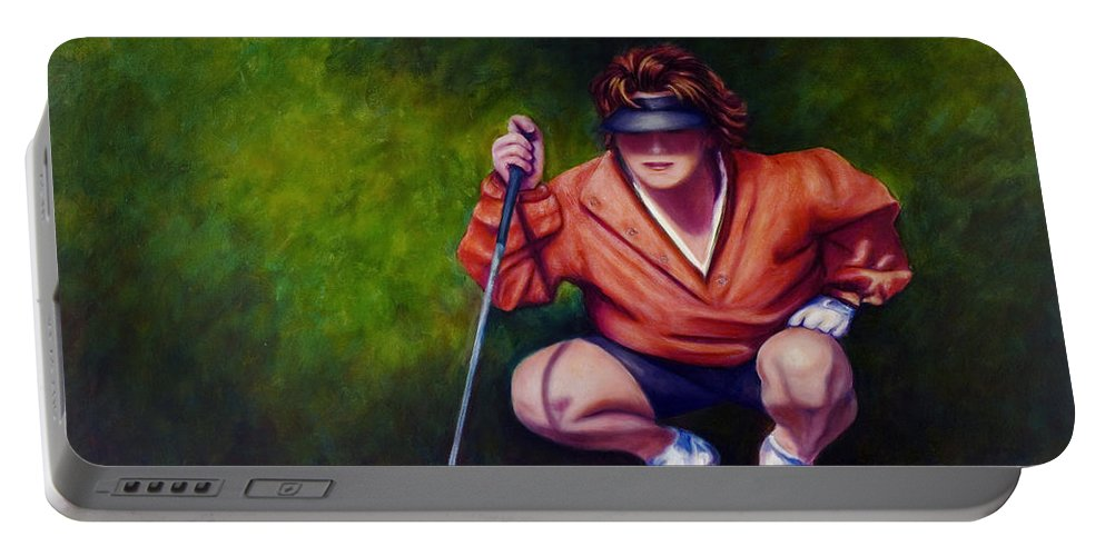 Golfer Portable Battery Charger featuring the painting Straightshot by Shannon Grissom