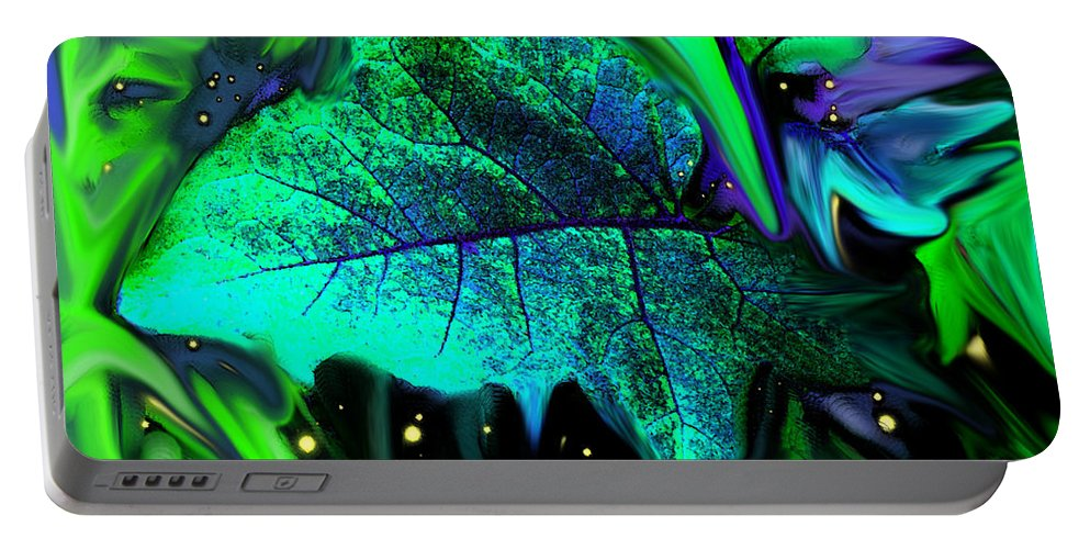 Abstract Portable Battery Charger featuring the digital art Strange Green World by Ian MacDonald